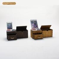 健荣2号DIY木质拼板办公多功能名片座手机文具收纳盒