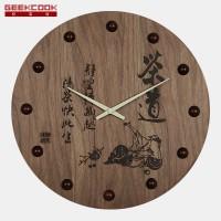 中国风木制雕刻挂钟-茶道百福图